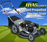"Rhyas 22"" Electric Start Petrol Lawnmower Self Propelled Lawn Mulch Stripe Mower"