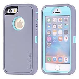 iPhone SE Case, [Tough Armor] Cases Lordther® [ShieldOn Series] [Military Grade Drop Test] [Heavy Duty] Silicone TPU Covers with [Build-in Screen Protector] Only for Iphone SE 5SE 5 5s (Grey Blue)