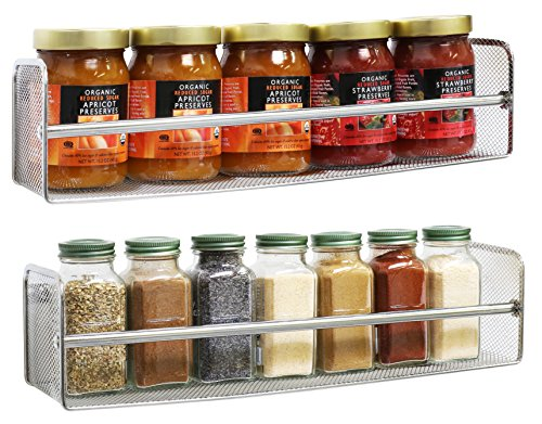 DecoBros 2 Pack Wall Mount Single Tier Mesh Spice Rack, Chrome (Deco Spice Jar compare prices)