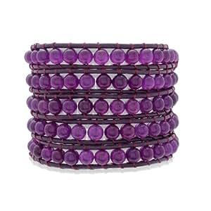 Rafaela Donata Bracelet multi rangs cuir véritable améthyste lilas pour bracelet 18.5 à 20 cm 60831032