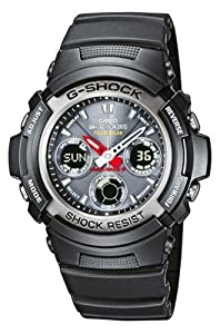 Casio G-shock Awg-101-1aer Radio Controlled Analog And Digital Quartz Multifunction Sports Watch, Solar Power, Stopwatch, Timer, Alarms, Time Zones And Black Rubber Strap