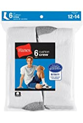 Hanes Mens Cotton Big & Tall Extended Crew Socks (Pack of 6)