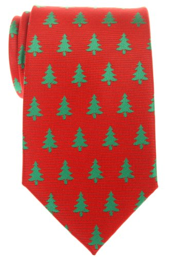 Retreez Christmas Tree Pattern Woven Microfiber Men's Tie - Red, Christmas Gift