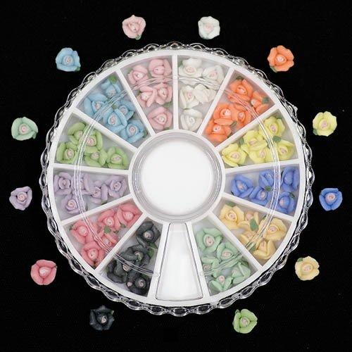セラミックフラワー 薔薇6mm ネイル デコ用 ラウンドケース入 12色×各5個