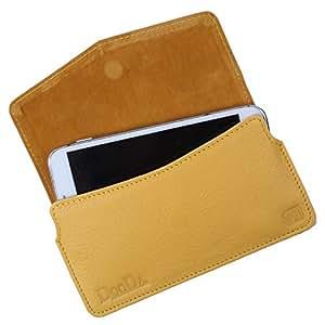 Dooda Genuine Leather Pouch Case For Idea Aurus 4 (YELLOW)