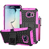 Samsung Galaxy S6 Edge Case, Sophia Shop Samsung Galaxy S VI 6 Edge (2015 Realease) Soft Inner+Hard Armor Shell 2 in 1 Tough Protective Cover Skin Case, with [Built-in Kickstand][Shock Proof][Anti-Slip][Scratch Resistant] Function Heavy Duty Durable Tough High Impact Hybrid Black Hard Shell with Soft Multi-color Option TPU Cover Rugged Case for Samsung Galaxy S6 Edge Carrier Compatibility Verizon, AT&T, T-Mobile, Sprint, International Carriers. (Not Compatible with Galaxy S6.) (Hot Pink)