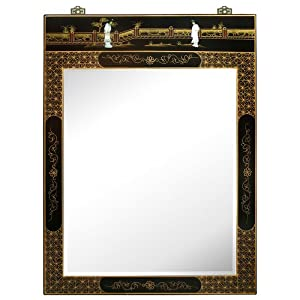 Hand painted asian style wall mirror black for Asian style mirror