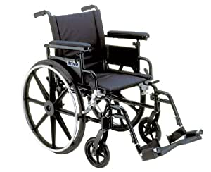 """Drive Medical Viper Plus GT Wheelchair with Flip Back Adjustable Height Arms with Various Front Rigging, Black, 16"""""""