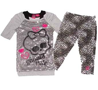 Monster High Off Shoulder Sequin 2-Piece Shirt and Pants Set (S (6/6X), Grey)