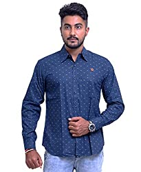 PP Shirts Men Cotton Casual Shirt ( Blue XXXXL )