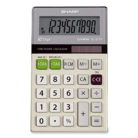 Sharp EL-377TB 10-Digit with Punctuation Twin Power/Glass Top Design Calculator