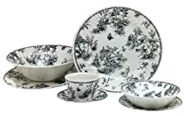 Hot Sale Churchill China Black Toile 47-Piece Dinnerware Set, Service for 8