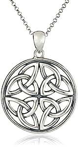 "Sterling Silver Celtic Knot Pendant Necklace, 18"""