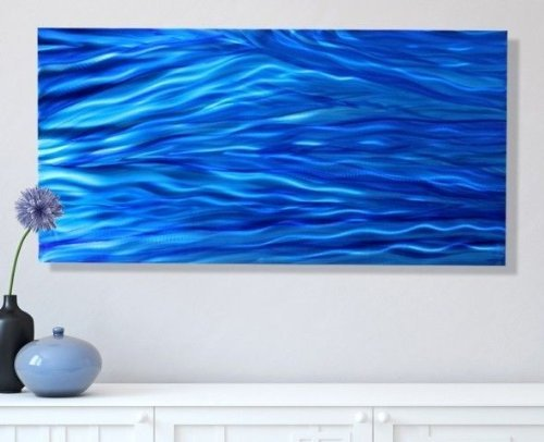 Bright Blue Contemporary Metal Art - Modern Painting - Large Wall Sculpture - Poolside Accent - Steady Stream By Jon Allen - 46