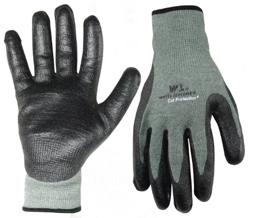 Wells Lamont 551L Cut Resistant Work Gloves, Kevlar Glove Dipped in Nitrile Rubber, Large