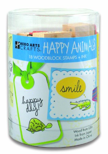 Hero Arts Ink and Stamp Set, Happy Animals
