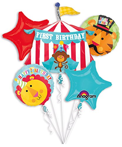 Fisher Price Circus 1st Birthday Balloon Bouquet Set Lion Tiger Party Supplies
