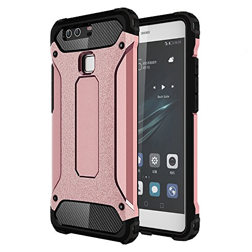OnPrim Armor Hybrid Hard PC And Flexible Rubber Shockproof Bumper Drop Resistance Defend Case For Huawei Ascend P9 Plus 5.5 Inth Rose Gold
