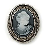 Vintage Inspired Grey Crystal Cameo Brooch/ Pendant In Antique Silver Metal - 43mm Length