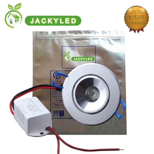 Jackyled 1W 3W Warm (300K)Or Cool White (6000K) Light Led Square Energy Saving Ceilingled Down Lamp Led Driver (1X1W (Cool White))
