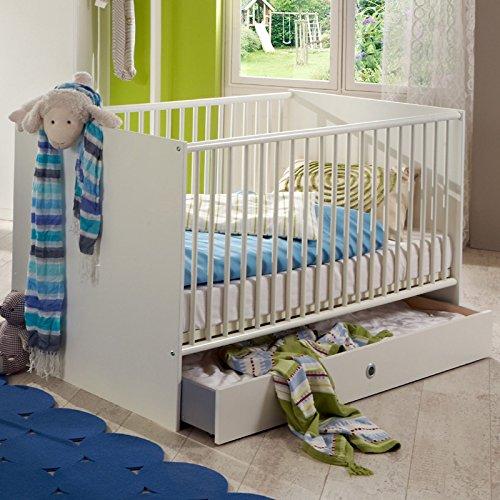 70x140cm Babyzimmer Babybett mit Schlupfsprossen weiß Gitterbett Baby Bett