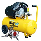 Wolf Cheyenne V-Twin 50 Litre, 3HP, 14CFM, 230v, MWP 150psi, 10BAR Air Compressor + 13 Piece Spray Air Tool Kit Including Pro Syphon Feed Spray Gun, Tyre Inflator, Long Nozzle Sprayer, Blow Gun, 8 Piece Inflator Set & 5m Air Hose Line