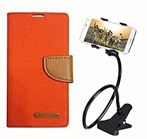 Aart Fancy Wallet Dairy Jeans Flip Case Cover for NokiaN540 (Orange) + 360 Rotating Bed Moblie Phone Holder Universal Car Holder Stand Lazy Bed Desktop by Aart store.