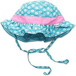 i play. Baby Girls\' Reversible Ruffle Bucket Sun Protection Hat, Aqua, 9-18 Months