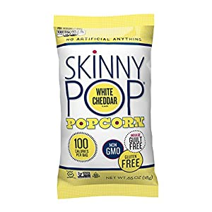 Skinny Pop Popcorn, 100 Calorie Bags, White Cheddar, 0.65 Ounce (Pack of 30)