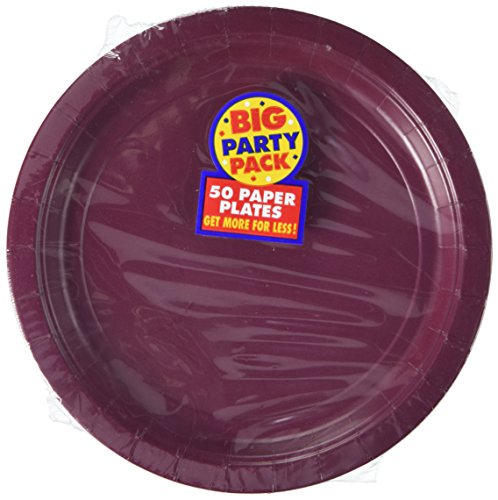 Amscan AMI 650013.27 Amscan Berry Big Party Pack Dinner Plates (50 Count), 1, red - 1