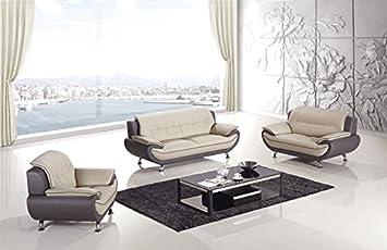 3pc Modern Contemporary Leather Sofa Set - AM-208-LG