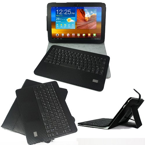 KHOMO: PU Carbon Fiber Leather Case with DETACHABLE Bluetooth Keyboard for Samsung Galaxy Tab 10.1 P1000