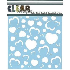 Clear Scraps CSSM6-HRTWL Translucent Plastic Film Stencil, Heart Wallpaper, 6-Inch x 6-Inch by Clear Scraps