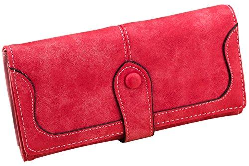 Minetom Donne Elegante Leather Portafoglio Lungo TitolareDellaCartaPochettePortafoglio Borsetta Sacchetto Del Partito ( Rosso )
