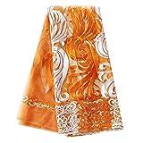 pqdaysun 5 Yards African Net Lace Fabrics Nigerian French Fabric Embroidered and Rhinestones Guipure Cord Lace F50378 (Orange) (Color: orange, Tamaño: 5 yards)