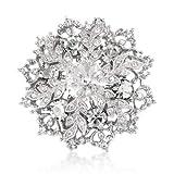 White Swarovski Elements Crystals Snowflake Brooch Pin Pendant - Silver Tone - Gift Boxed