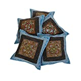Rajrang Decorative Mirror Embroidery Work Sofa Cushion Cover 16 By 16 Set 5 Pcs