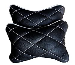 Hi Art CS_6 Black And Silver Double Quilted Car Neck Rests Cushions - Set of 2 pieces