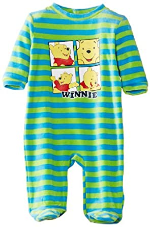 Disney Baby Boys Winnie The Pooh Striped Long Sleeve Sleepsuit, Green (Blue Stripes/Green Stripes), 12-18 Months (Manufacturer Size:12 Months)