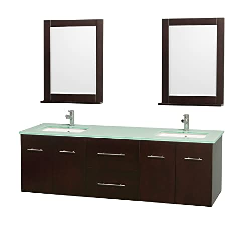 Wyndham Collection Centra 72 inch Double Bathroom Vanity in Espresso, Green Glass Countertop, Undermount Square Sink, and 24 inch Mirror