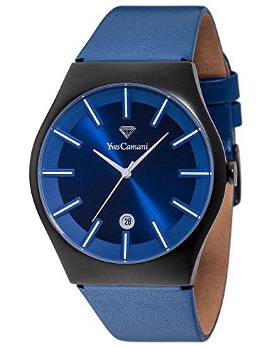 Yves LOANN visita Camani Unisex-reloj Black/Dark-Blue analógico de cuarzo de cuero YC1068-D