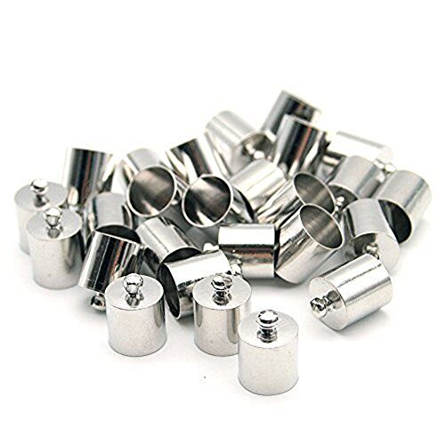 40 Pieces Decorative DIY Crafts Cylindrical Stainless Metal Cap Bells