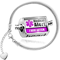 Charm Set Medical Alert Purple I Have Autism - Bead comes with Bracelet , Neonblond by NEONBLOND
