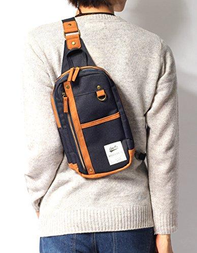 (リピード) REPIDO ボディバッグ メンズ ショルダーバッグ バッグ カバン 鞄 斜め掛け キャンバス PUレザー 皮 革 小型 カジュアル レディース ユニセックス ネイビー Free