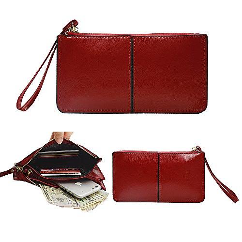 04. Belfen® [Soft leather] [Jester Red] Smartphone zipper wallet organizer with Credit Card Holder/Cash pocket/Wristlet