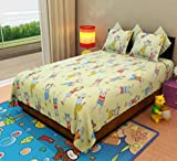 Home Candy Kids Kids Cotton Double Bedsheet with 2 Pillow Covers - Multicolor