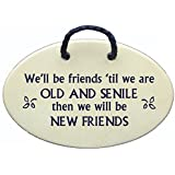 We'll be friends until we are OLD AND SENILE then we will be NEW FRIENDS. Ceramic wall plaques and art signs handmade exclusively by Mountain Meadows Pottery in the USA