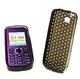 Trendline24 Soft Skin Gel Case Design: Diamond Clear Black for Nokia C1-02 - included Softbag
