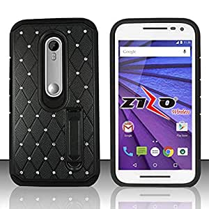 Zizo Phone Case for Motorola Moto G 2015/G3 - Retail Packaging - Black/Black