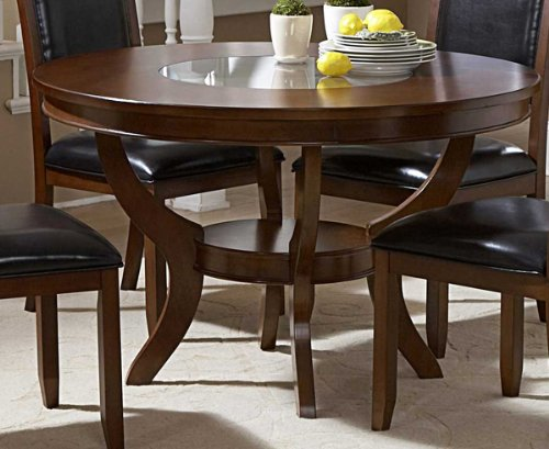 Round Dining Table with Glass Inset in Deep Cherry Finish